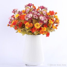 $enCountryForm.capitalKeyWord Australia - 35 Heads Small Silk Artificial Flowers Sunflowers Autumn Decoration Table for Home Fall Gerbera Daisy Yellow Fake Flower Bouquet