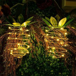PineaPPle led light online shopping - Solar Energy Pineapple Lamp Garden Copper Wire Light LED Outdoors Iron Art Telescopic Waterproof Mentioning Hangable Creative ftf1