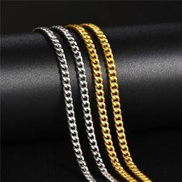 $enCountryForm.capitalKeyWord Australia - 3MM Gold Silver Color Hiphop Necklace Stainless Steel Cuban Chain Necklaces for Men Women Hip Hop Punk Jewelry Hombre