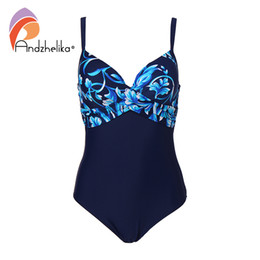 cup sized swimsuits NZ - Andzhelika Plus Size Swimwear Women One Piece Swimsuit Summer Large Cup Print Sexy Fold Bodysuit Beach Bathing Suit Monokini
