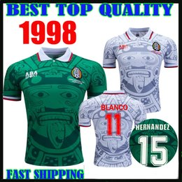 d4634b879e3 Retro 1998 MEXICO BLANCO Soccer Jerseys home away VINTAGE Thailand Quality  uniforms Football shirts HERNANDEZ camiseta de futbol size s-xxl