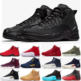 21c51393dc986a 12s Winterized Mens basketball shoes WNTR Gym Red Michigan Bordeaux 12  Black The Master Flu Game Retro taxi sports sneaker trainers size 13