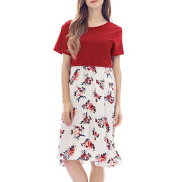 elegant winter clothes for women Canada - Women Maternity Dresses Summer Floral Print For Breastfeeding Elegant Casual Nursing Dress Pregnant Clothes Vetement Femme 19may