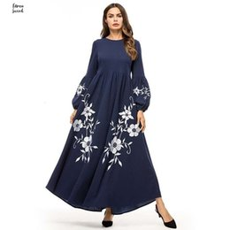 long sleeve maxi dresses Australia - Elegant Long Dress Vintage Floral Embroidery Bishop High Waist Swing A Line Dresses Maxi Women Sleeve Autumn Fall