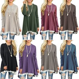 $enCountryForm.capitalKeyWord Australia - Patchwork Lace Loose Long T Shirt basic Women Top Tee Shirt Femme Casual Long Sleeve T-Shirt Female Cotton Maternity Tops