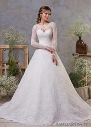 feather flowers 2019 - 2019 Modest Lace Wedding Dresses A Line Jewel Neck Long Sleeve Bridal Gown vestido de novia Sheer Illusion Formal Dress