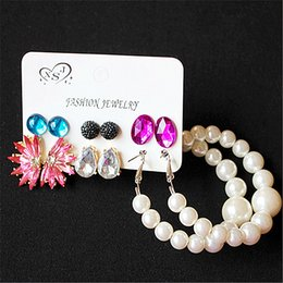 Mix Match earrings online shopping - New fashion women jewelry ladies party pearl pink black mix and match gorgeous pairs set earrings gift
