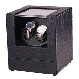 Shape Boxes Australia - Wooden Auto Watch Winder Irregular Shape Transparent Cover Wristwatch Box with EU US Plug Luxury 2 Box Automatic Watch