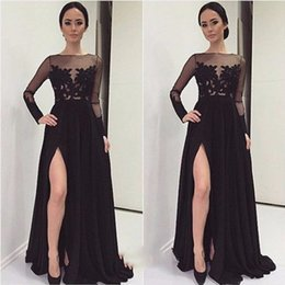 1126ea4fc952b Long Shirt Dress Side Slits Australia - 2019 Sexy Black Sheer Long Sleeve  Lace Bodice Prom