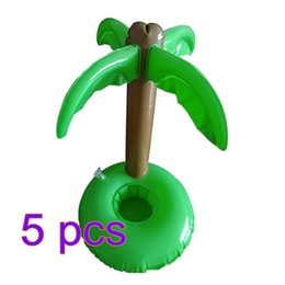 5Pcs Inflatable Bottle Holder Swimming Pool Accessories Beach Luau Palm Trees Cup Holder for Cola Cup/Cell Phone/