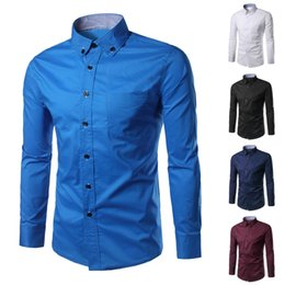blue collar shirts Australia - Men Shirts Dres Casual Slim Fit Black Blue White Short Button Turn-down Collar Long Sleeve Shirt Mens Social Clothing Chemise