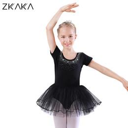 bfd2ef8756 7 Fotos Compra On-line Traje de balé crianças-ZKAKA Ballet Dress Crianças  Manga Curta Ginástica