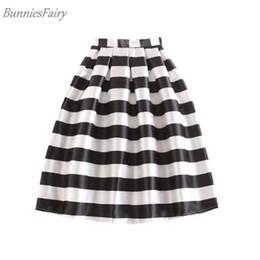 85dbc4adb Bunniesfairy 2019 Summer New Women Black And White Horizontal Block Stripe  Geometric Print Pleated Midi Skirt For Office Work J190411