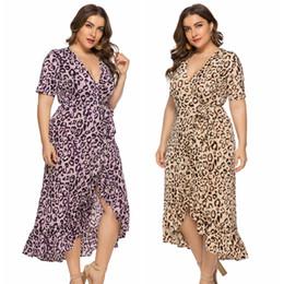 Plus Size Irregular Hem Dress NZ - Plus Size Women Clothing Ruffle Trim Leopard Print Casual Dresses V Neck Irregular Hem Midi Dresses XL-6XL