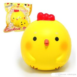 "baby chicken toys Australia - Wholesale 3.9"" Kawaii Jumbo Yellow Chicken Baby Squishy Soft Doll Squeeze Toy Collectibles Cartoon Scented Super Slow Rising Phone Strap"