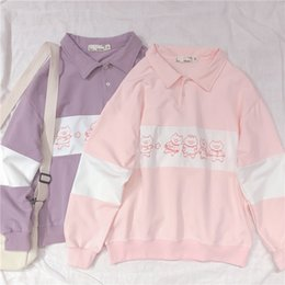 $enCountryForm.capitalKeyWord Australia - Harajuku Cute Pig Print Women Long Sleeve Hoodies Japanese Young Girl Student Pullover Shirts Spring Polo Collar Sweatshirt Tops Y190823