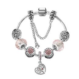 Discount custom logo pendants - 17-21CM Charm Bracelet 925 Silver Bracelets Life Tree Pendant Charms Bead Bangle snake chain as Christmas Gift Diy Jewel