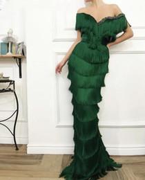 $enCountryForm.capitalKeyWord Australia - Arabic Wavy Emerald Green Tassel Evening Dress Mermaid Long Crystal Off the Shoulder Elegant Women Formal Prom Dresses in Dubai