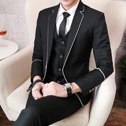 Large Lapel Suits Australia - Long Sleeve Suit 3 Piece Sets Mens Large Size 5XL Business Wedding Banquet Men Suits Jackets & Pants & Vests Black Red Blue #577758