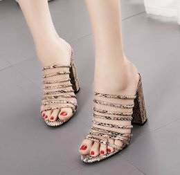 blocked heels shoes Canada - size 35 to 42 rome printed block heel mules women sandals designer slides luxury heels fashion luxury designer women shoes