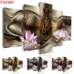$enCountryForm.capitalKeyWord Australia - Buddha lotus diamond painting Wall Painting 5pcs diy 5d mosaic picture of rhinestone home Decoration diamond embroidery for sale