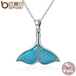 $enCountryForm.capitalKeyWord Australia - Bamoer 925 Sterling Silver Ocean Sea Blue Enamel Fish Whale's Tail Mermaid Pendant Necklaces Women Silver Jewelry Brincos Scn096 J190529