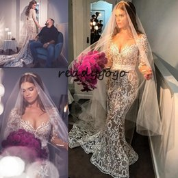 $enCountryForm.capitalKeyWord Australia - Plus Size Mermaid Wedding Dresses With Long Sleeve 2019 Sheer Neck Lace Applique Beaded Nude Lining Arabic Beach Wedding Gown