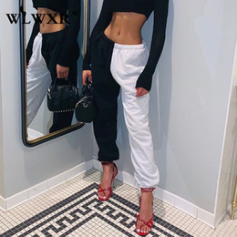 Wholesale female elastic trousers for sale – dress Winter Loose Sweat Pants Women Joggers Patchwork Harajuku High Waist Pants Female Casual Harem Ladies Trousers