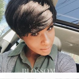 short styles for curly hair UK - 2019 New Style Natural black Short Pixie Cut Curly Wig 100% Human Hair Lace Wigs For Black Women