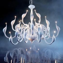 Swan Pipe Australia - 12 18 24 Heads Art Deco European Candle Metal LED Swan Chandeliers Ceiling Bedroom Living Room Modern Decoration G4 Lighting