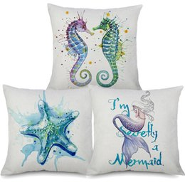 China Sea Horse Starfish Mermaid Octopus Turtle Cushion Covers Watercolor Painting Linen Pillow case 45X45cm Sofa Chair Decoration suppliers