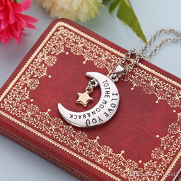 Pendant Backing Australia - I love you to the moon and back star moon Pendants Necklace for women fashion jewelry BY DHL 161525