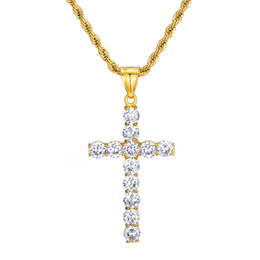 $enCountryForm.capitalKeyWord UK - Zircon Cross Necklace Mens gold cross necklaces for men Cross Pendant Hip Hop Gold Plated Jewelry Rhinestone jewelry