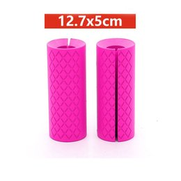 Discount silicone handle grip - 2PC 12.7x5cm Silicone Dumbbell Barbell Grips Bar Handles Pull Up Weightlifting Fitness Support Anti-slip Protect Pad