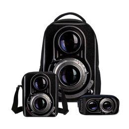 Yellow Camera Bag UK - Fashion 3 Pcs Set Backpacks For Girs Boys Fashion 3D Camera Printing Bookbag Children Shoulder Bag Cool Casual Canvas Backpack