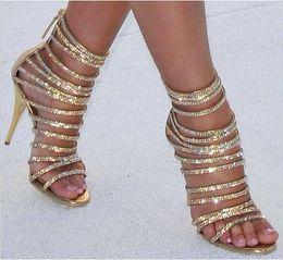 $enCountryForm.capitalKeyWord NZ - Summer Women Sandals Bling Rhinestone Encrusted Ankle High Short Bootties Zipper Thin Heel Cool Pumps Gladiator Party Shoes