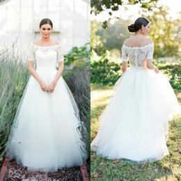 $enCountryForm.capitalKeyWord NZ - New Modest Wedding Dresses Off Shoulder Short Sleeves Lace Wedding Gowns Soft Tulle A-line Simple Bridal Dress