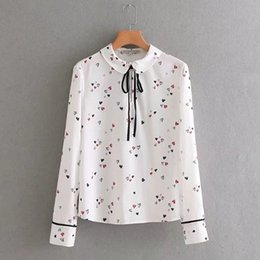 Wholesale heart print blouses for sale – plus size women vintage vestidos cute peter pan collar bow casual slim blouse shirt fashion hearts print femininas Camisa tops LS1767