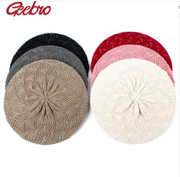 knit beret hats for girls NZ - Women's Plain Color Knit Beret Hat Spring Casual Thin Acrylic Berets for Women Ladies French Artist Beanie Beret Hats
