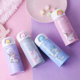 stainless feeding bottle Canada - 350ml Cute Unicorn Thermos Bottle Kids Baby Feeding Water Bottle Stainless Steel Heat-resistant Best Christmas Gift Portable Cup hx0051
