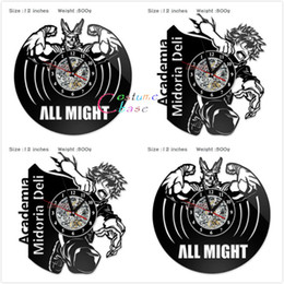 silent vintage wall clock 2019 - Anime My Hero Academia Record Wall Clock Style Clocks For Living Room Silent Vintage Hanging Clock Cosplay Accessory che