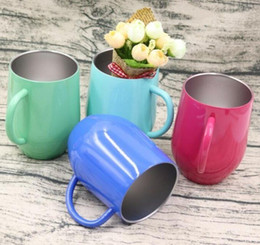 tumblers cups Australia - 12oz Stainless Steel Coffee Cup With Lid Handle Egg Cup Tea Mug Water Bottle Wine Glasses Double Layer Beer Mug Solid Tumbler
