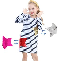 Clothing for sChool online shopping - Designer Baby Girl Clothes New Long Sleeve Autumn Kids Dress with Sequins Party Dress for Girls Back to School Years