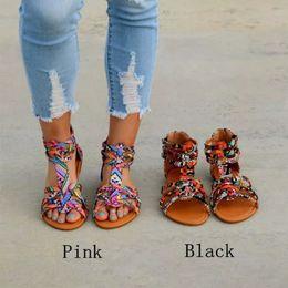 c200cd605 2019 Plus Size 35-43 Ethnic Bohemian Summer Fashion Woman Pompon Sandals  Gladiator Roman Embroidered Shoes Women Flats summer Sandal W353