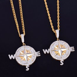 gold compass pendant necklace Canada - Compass Shape Necklace & Pendants Gold Silver Color Iced Cubic Zircon Men's Hip hop Jewelry With rope Chain
