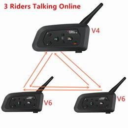 walkie talkies for motorcycle helmets Australia - Motorcycle Intercom 1200m Wireless Bluetooth Helmet Headsets Interphone Walkie Talkie for 3 Riders Talking Online Intercom