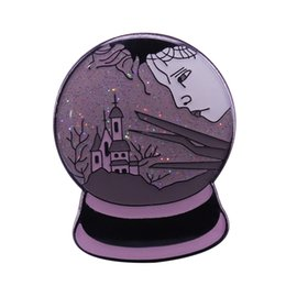 $enCountryForm.capitalKeyWord UK - Edward Scissorhands snow globe glitter pin fantasy castle badge beautiful sad artwork