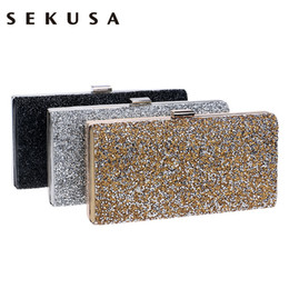 small silver clutch evening bag NZ - Sekusa Woman Evening Bag Women Diamond Rhinestone Clutch Crystal Chain Shoulder Small Purse Wedding Purse Party Evening Bags Y19061301