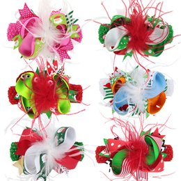 baby feather headdress NZ - Kids Christmas Bow Feather Headband Hair Clip Dual Use Handmade Bow Feather Barrettes Festival Baby Girls Headdress FFJ691