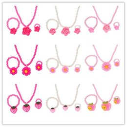 Children Set Ring Bracelet Australia - ZOSHI Fashion Simulated-Pearl Beads Kid Jewelry Sets Resin Flower Strawberry Apple Pendant Necklace Bracelet Ring Gift For Child
